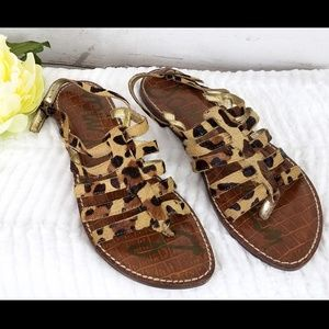 SAM EDELMAN Calf Hair HamiltonLeopard Sandals 6.5